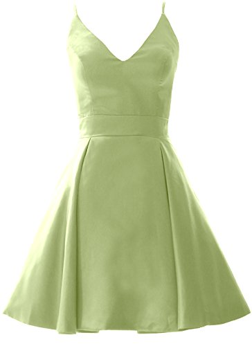 Pistachio V Mini Dress Homecoming Gown Neck Wedding MACloth Elegant Party Formal Prom ZaBqPw