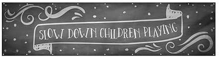 Slow Down Children Playing 12x3 Chalk Banner Wind-Resistant Outdoor Mesh Vinyl Banner CGSignLab