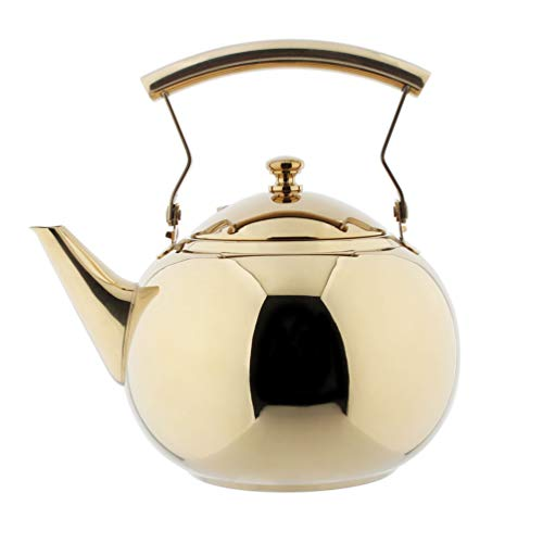 OMGard Gold Tea Pot with Infuser Loose Tea Leaf Filter 2 Liter Stainless Steel Teapot Coffee Water Small Kettle Strainer Set Warmer Teakettle for Stovetop Induction Stove Top 2.1 Quart / 68 Ounce (Gold Teapot Warmer)