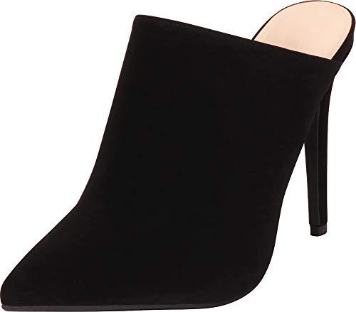 Stiletto Mule - Cambridge Select Women's Pointed Toe Slip-On Stiletto High Heel Mule (10 B(M) US, Black NBPU)