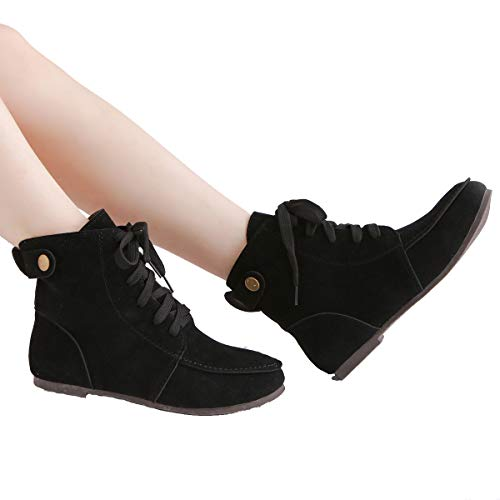 Combat Boots Boots Women Black Martin Lace Suede Fashion up Ankle Flat 8HBq5z