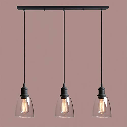 Vintage Industrial Handblow Pendant Light, Yosoan 3-Light Modern Semi Flush Mount Ceiling Hanging Light Fixture Lamp for Kitchen Island Bathroom Porch Bedroom Living Room Bar Loft Hotel(Black)