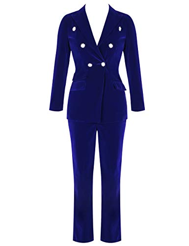 UONBOX Women's High-Waisted Crystal Button 2 Pieces Velvet Blazer Pant Suits Set Blue S]()
