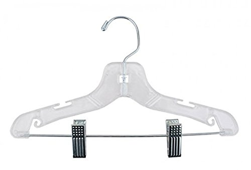 NAHANCO 412RC Super Heavy Weight Plastic Suit Hanger, 12'', Clear (Pack of 100)