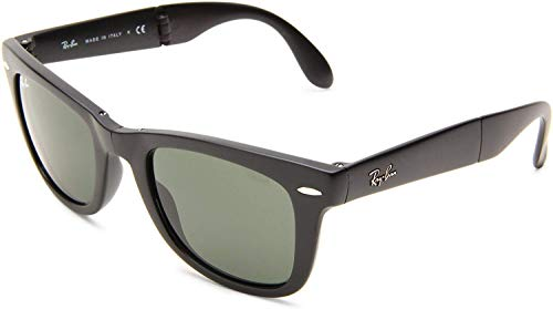 Ray-Ban RB4105 Wayfarer Folding Sunglasses, Matte Black/Green, 50 mm (Ray-ban Folding Wayfarers)