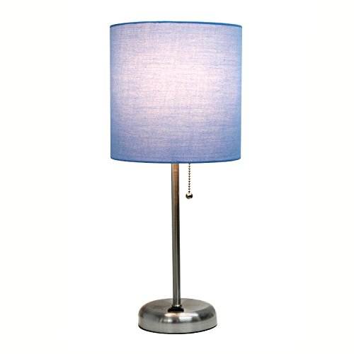 Limelights LT2024-BLU Fabric Shade, Stick Lamp with Charging Outlet, Blue, 19.29