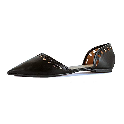 Guilty Heart Womens D'Orsay Almond Pointed Toe Slip On Casual Flats (7.5 M US, 04 Black)