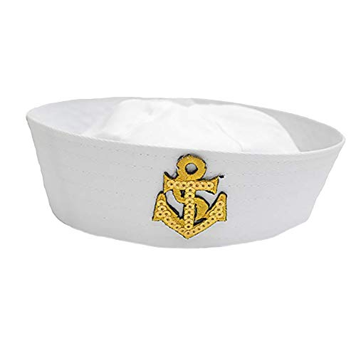 Adult White Sailor Hat & Gold Anchor for Sailing Nautical Party Costume Accessory -