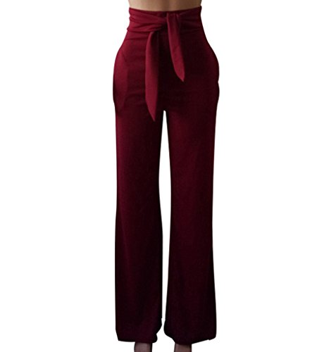 GUOLEZEEV Women Long Pants Elegant Bandage High Waisted Flare Palazzo Trousers Wine Red L by GUOLEZEEV (Image #2)