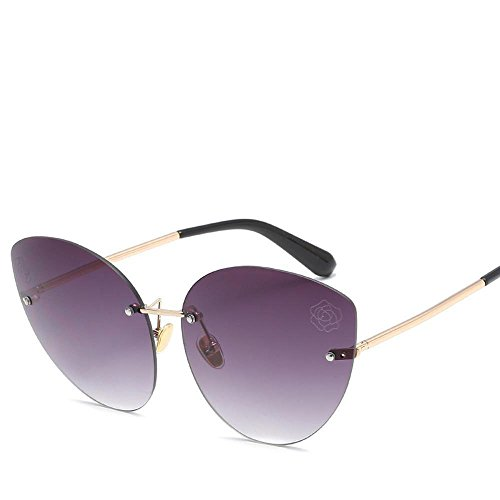 Aoligei L'Europe et les États-Unis fashion réflectorisé sans frame lunettes de soleil tendance lunettes de soleil femme personnalité couleur lumineuse s Unettes solaires miroir plat D