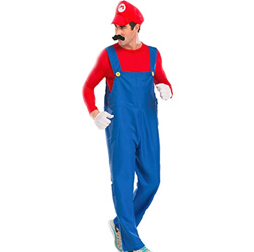 (Mitef Unisex Super Mario Luigi Brothers Cosplay Costume for Adult, Red,)