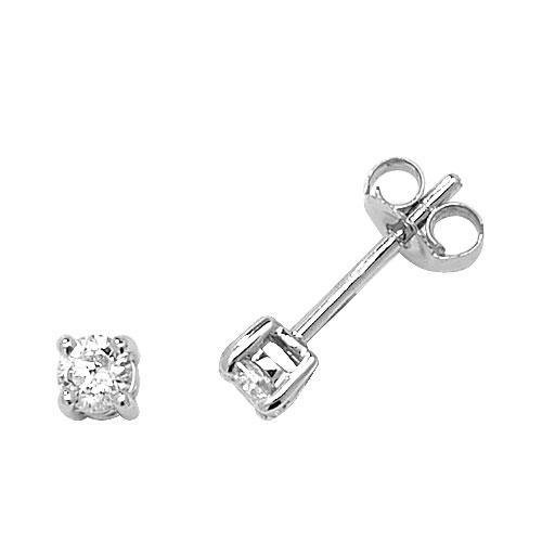 Boucles d'oreilles clous Femme-Or blanc Diamant Or Blanc 9ct Hi/I10,30ct