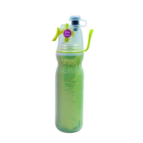 Spray Mist Squeeze Bottle, Mist Water Bottle with Unique Mist Lock Design ,Insulated Drinking & Misting Sport Water Bottle with Mist Sprayer, Outdoor Hydration, (Laser yellow,20oz,Technology Yellow)