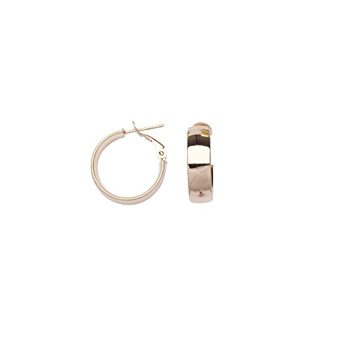 14k Rose Gold 6x15 Plain Hoop Earrings Omega Clip by JewelryWeb