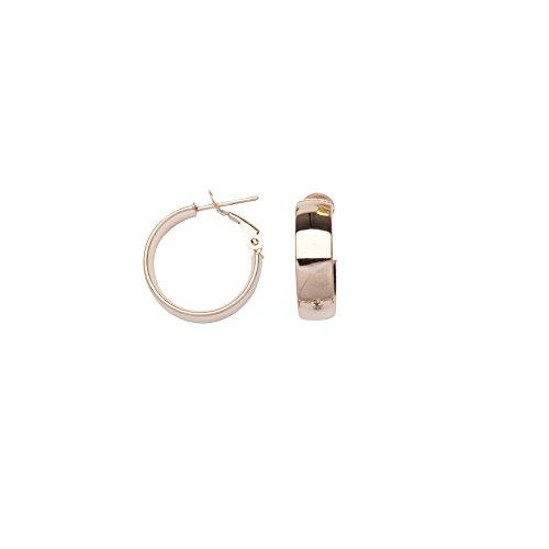 - 14k Rose Gold 6x15 Plain Hoop Earrings Omega Clip