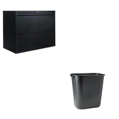 KITALELF3629BLRCP295600BK - Value Kit - Best Two-Drawer Lateral File Cabinet (ALELF3629BL) and Rubbermaid-Black Soft Molded Plastic Wastebasket, 28 1/8 Quart (RCP295600BK) by Best