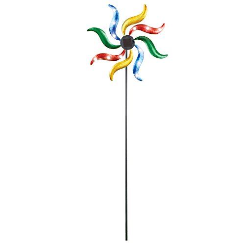 Collections Etc Rainbow Wave Wind Spinner Solar Garden Stake Decoration Sculpture, 50'' H by Collections Etc