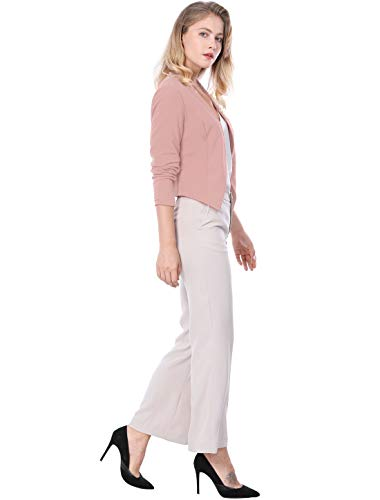 Allegra K Women's Collarless Work Office Business Casual Cropped Blazer 17