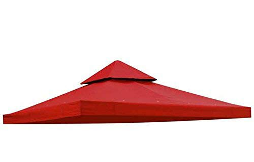 Red 10' x 10' Feet Square Garden Canopy Gazebo Replacement Top 2-Tier Outdoor Patio Backyard Party UV Protection Sun Shade Waterproof Polyester Fabric Tent