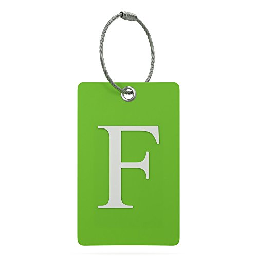 (Luggage Tag Initial - Fully Bendable Tag w/ Stainless Steel Loop (Letter F))