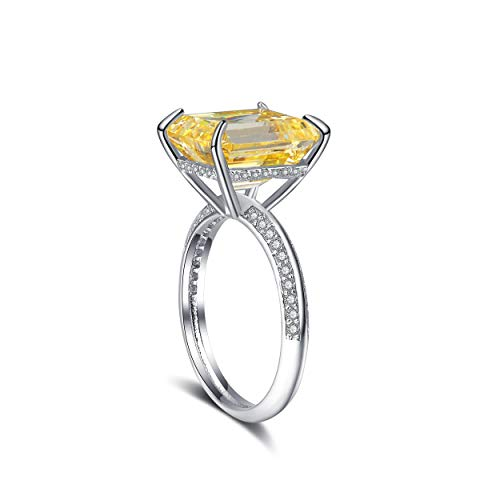 BAYAM Emeral Cut Cubic Zirconia Ring CZ Cocktail Gemstone Ring 14K White Gold Plated Engagement Wedding Rings Women (6, Yellow (Citrine))