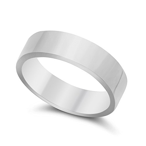 925 Sterling Silver Italian Crafted 5mm Flat Edged Pipe-Cut Style Wedding Band, Size 10 + Cleaning (5mm Edged Band Ring)
