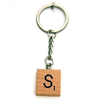Llavero de madera con letras alfabéticas, estilo de juego ...