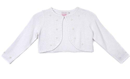 Price comparison product image Big Girls' Sweater Style Knit Cotton Bolero Pearl Jacket White Size XL (12-14)