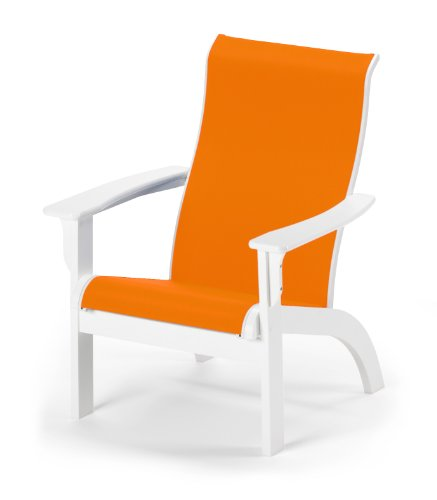 Telescope Casual Adirondack MGP Sling Chair, Textured Snow Finish with Tangerine Sling Fabric