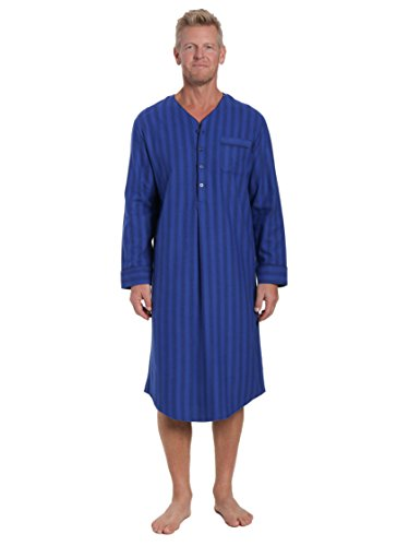 Noble Mount Men's Flannel Nightshirt - Stripes Tonal Blue - X-Large