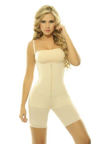 18f6f7371 Women s Body Briefer Powernet with Latex Braless Body Girdle Capri Length  Ab..