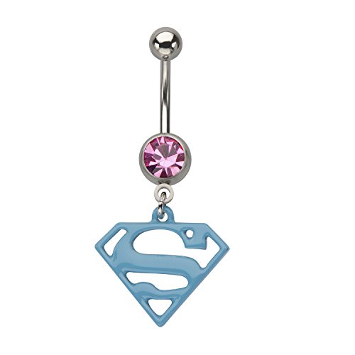 DC Comics Unisex Superman 316L Surgical Steel Dangle Charm Navel Ring with Gem]()