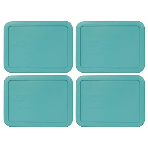 Lid Turquoise (Pyrex 7210-PC 3 Cup Turquoise Rectangle Plastic Food Storage Lid - 4 Pack)