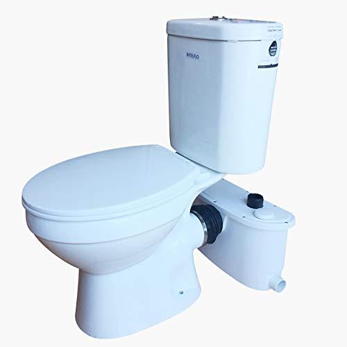 Elongated Toilet Macerating Upflush Macerator Pump,Finish Macerating Upflush Toilet Kit with Elongated Bowl ()