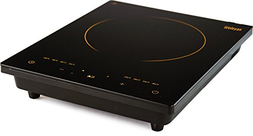 Weleyas Portable 1800W Gold Energy Efficiency Electric Induction Cooktop Countertop Single Burner with Power, Temperature and Timer Setting, Full Glass and Sensor Touch Control