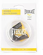Everlast Black Double Mouth Guard with case for Fight Sports Including Soccer Boxing and Lacrosse