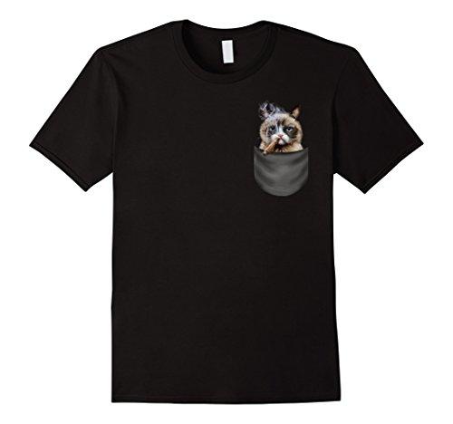Mens T-Shirt - Mean Siamese Cat Smoking Cigar, Pocket XL (Smoking Cat)