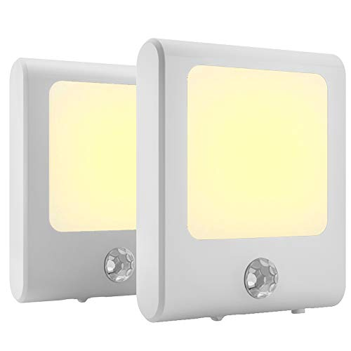 MAZ-TEK Plug in Motion Sensor Lights with Adjustable Brightness,Warm White Motion Activated Led Night Light for Hallway, Stair, Corridor, Kitchen, Living Room, Garage, Basement, Utility Room,2 Pack