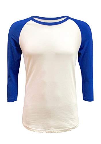 (ILTEX Raglan T-Shirt 3/4 Sleeve Athletic Baseball Jersey Unisex (30+ Colors) (White/Royal Blue, X-Large))