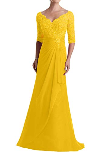 57640b72d3d ... Women s Lace Chiffon Mother of The Bride Dress Short Sleeves Tea Length  Prom Dress Golden Yellow Size 16.   