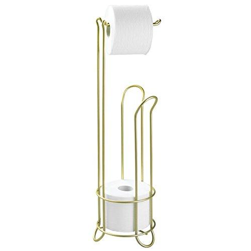 mDesign Free Standing Toilet Paper Holder for Bathroom Stora
