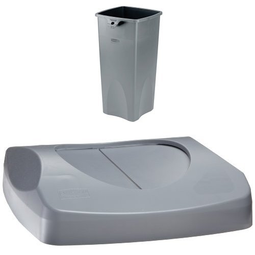 Rubbermaid Commercial 23-Gallon Untouchable Trash Can with Swing Lid Combo, Rectangular, Gray (FG356988GRAY & FG268988GRAY)