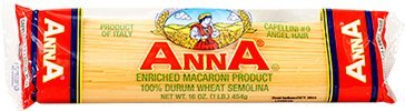 Anna - Italian Capellini (Angel Hair) Pasta No. 9, (6)- 16 oz. Pkgs.