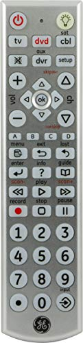 (GE 4 Device Universal Remote, Big Button, Works with Smart TVs, LG, Vizio, Sony, Blu Ray, DVD, DVR, Roku, Apple TV, Streaming Players, Auto Scan, Pre-Programmed for Samsung TVs, Silver, 24929)