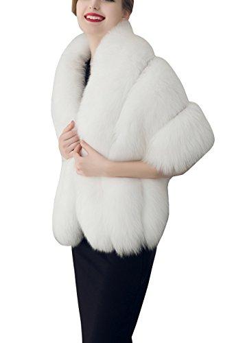 Piel Ropa Ponchos Chaquetas Abrigo Blanco Sintética Mujer Capas Kaxidy De wOq5Ixa