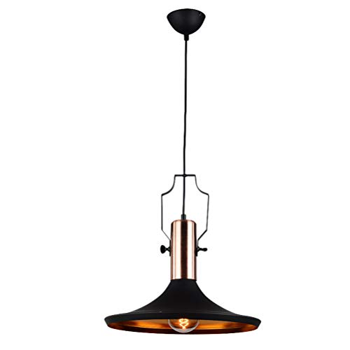 Chandeliers Vintage Retro Industrial Round Black Metal Loft Pendant Lighting Chandelier Fixture Farmhouse Small Barn Pendant Lamp for Kitchen Island Bar Bedroom Aluminum Shade Ceiling Hanging Lights