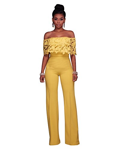 Women's Sexy Off Shoulder Ruffles High Waisted Long Wide Leg Jumpsuits Rompers (XL, Yellow a)