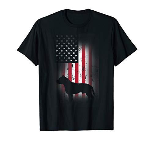 Pitbull Dog American Flag Dog 4th Of July Pit Bull Dogs T-Shirt ()