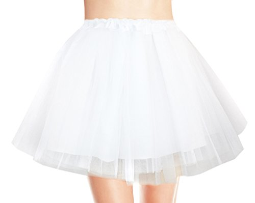 V28 Women's, Teen, Adult Classic Elastic 3, 4, 5 Layered Tulle Tutu Skirt (One Size, 4Layer-White)]()