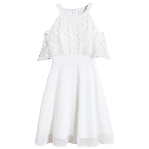 (MSNZS Dresses Embroidered A-Line Skirt Short-Sleeved Gauze, White, L)